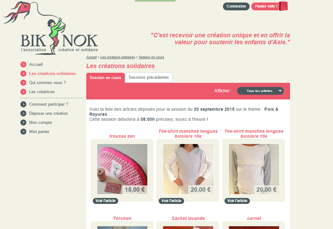 Coudre solidaire - site de l'association Bik-Nok